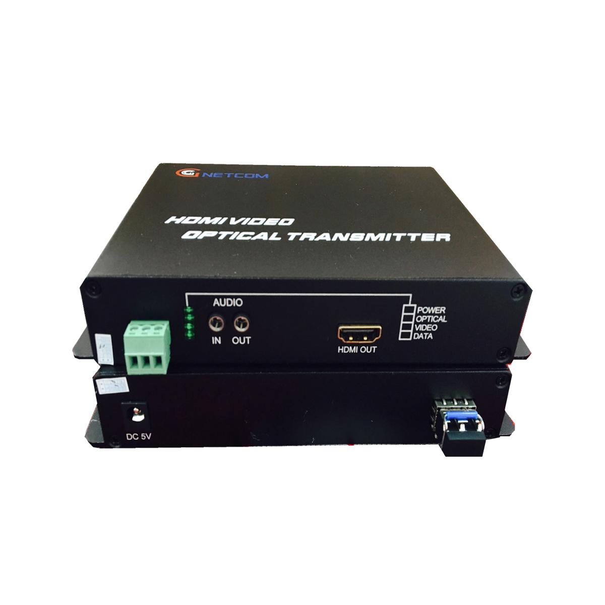 Bộ kéo dài HDMI qua quang kèm cổng AUDIO GNETCOM HL-HDMI-1V1A1D-TR (2 thiết bị ,1 module) - Hàng Chính Hãng