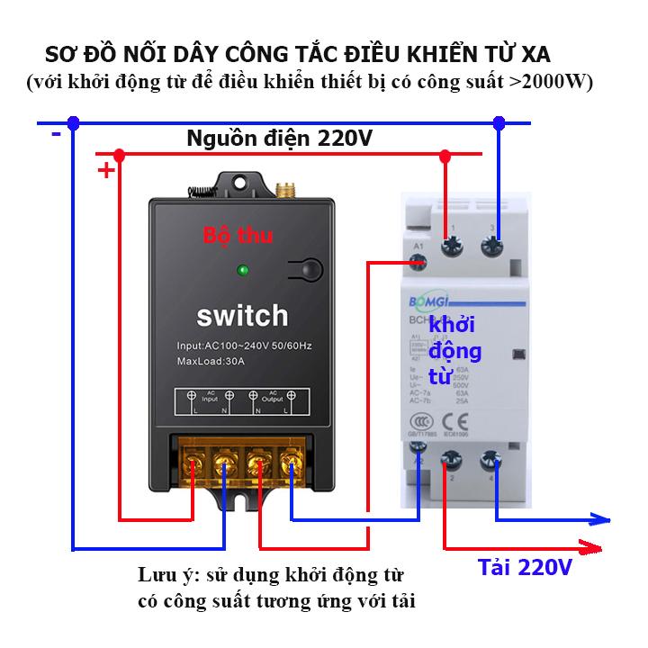 Bộ công tắc điều khiển từ xa 100m 30A 220V bật tắt máy bơm nước máy rửa xe công suất lớn có học lệnh [MẪU MỚI 2021]