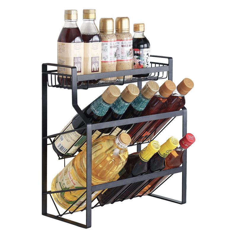 Kệ gia vị sơn tĩnh điện, giá đỡ đựng hủ muối đường, chai dầu giấm, lọ nước tương, nước mắm có 2 tầng nghiêng cho bếp gia đình, nhà hàng, khách sạn, quán ăn_HK114-KGV3