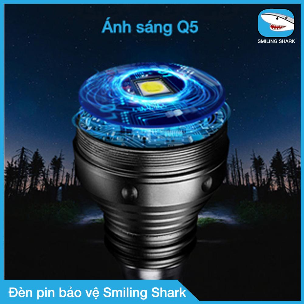 Đèn pin tự vệ siêu sáng Smiling Shark, công nghệ chiếu sáng tối tân, chất liệu hợp kim siêu cứng, chuyên dụng cho bảo vệ canh phòng, tuần tra ban đêm, chống trộm, dã ngoại, tìm kiếm cứu nạn đa dụng - Hàng chính hãng