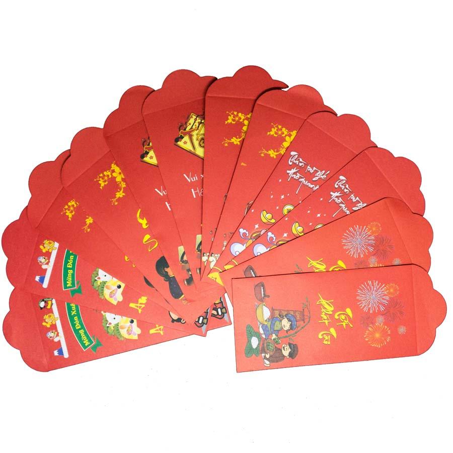 Set 12 Bao Lì Xì Tết Bình An - Vui Vẻ - An Khang - Thịnh Vượng mẫu ngẫu nhiên