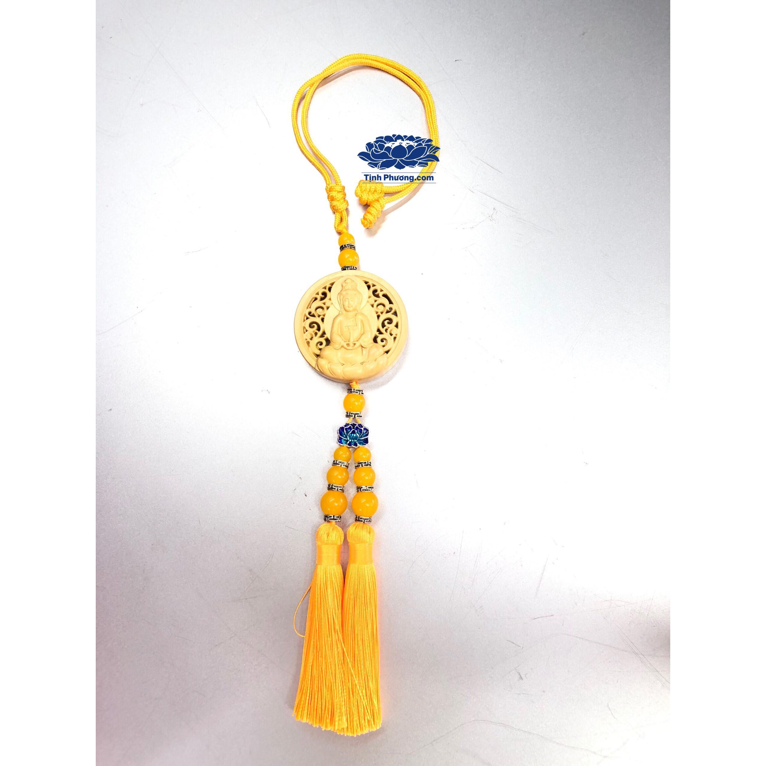 Dây treo ô tô hình Tượng Quan Âm Bồ Tát Ngồi Đài Sen vàng gỗ hoàng dương KH1266889
