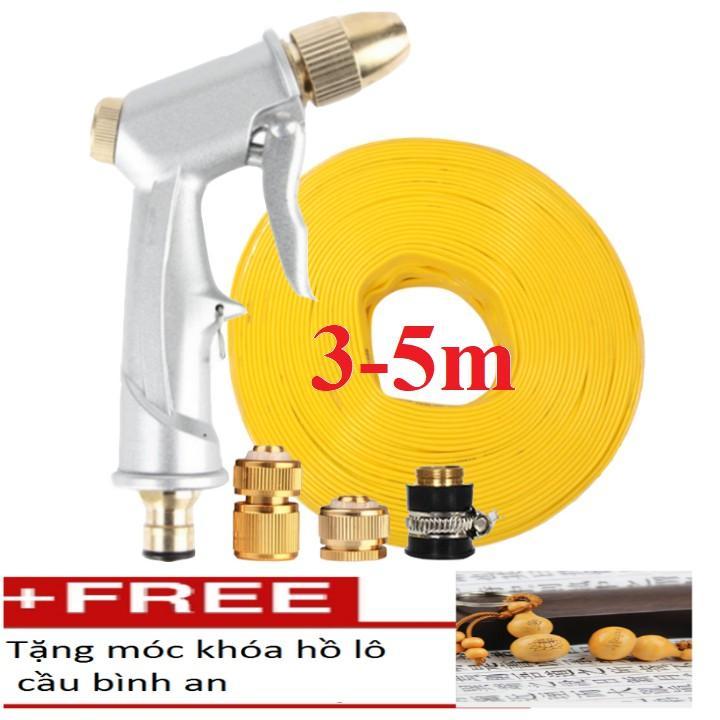 Bộ dây vòi xịt nước rửa xe,tưới cây đa năng,tăng áp 3 lần,loại 3m, 5m 206701 đầu đồng,cút đồng+ tặng móc khoá