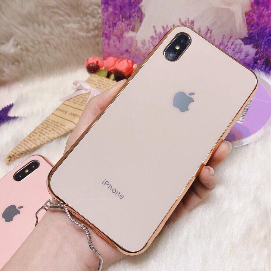 Ốp Giả Kính Viền Xi Dành Cho Iphone - Hồng Kem - Iphone Xs
