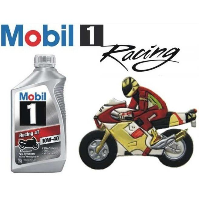 Nhớt Tổng hợp cao cấp Mobil 1 Racing  4T 10W40  thùng 6 bình  946ML dành cho xe số , tay côn
