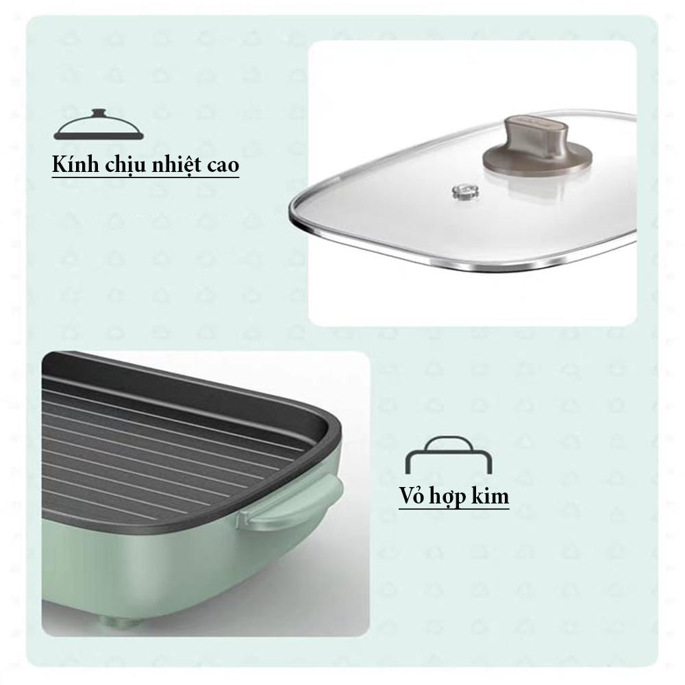 Bếp điện đa năng, có 2 ngăn lẩu và nướng, phù hợp 3 đến 6 người ăn, công suất 1600w, chất liệu hợp kim  - LLS