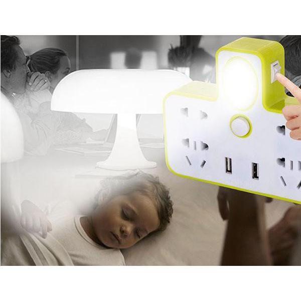 Ổ cắm điện đa năng 4 cổng kiêm đèn ngủ và 2 cổng usb