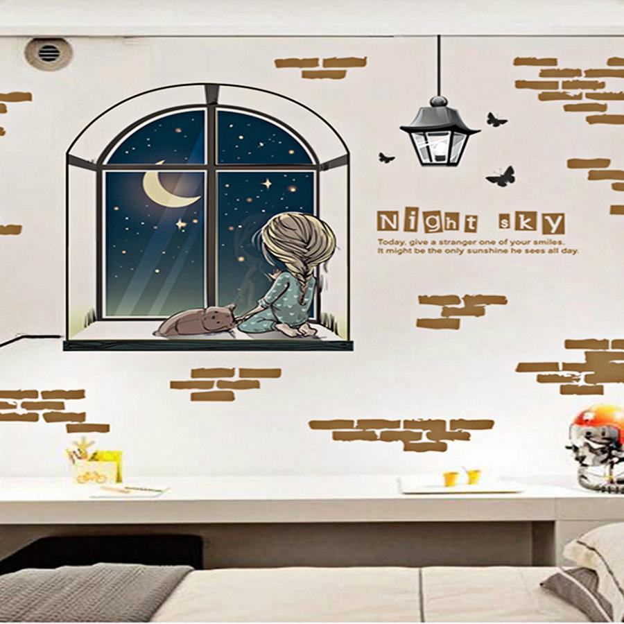 Decal dán tường cô bé ngắm trăng bên bệ cửa sổ