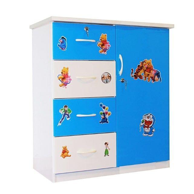 Tủ nhựa Đài Loan 1 cánh 4 ngăn T201 màu xanh dương