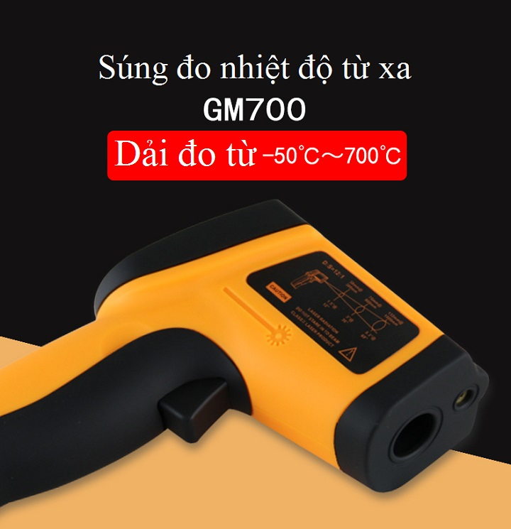 Máy đo nhiệt độ cao cấp dùng trong công nghiệp ( Dải đo -50°C ~ 700°C ) - Tặng 03 nút kẹp cao su giữ dây điện