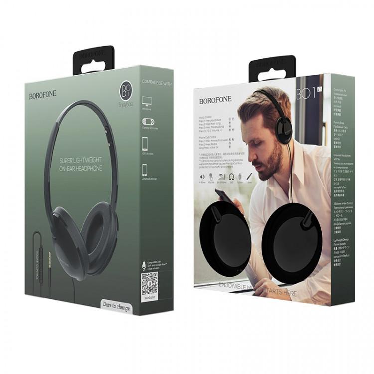 borofone bo1 enjoybass in line control wired headphones package black