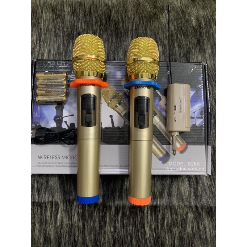 combo hai mic không dây hát karaoke,hát livestream S28A hàng chính hãng Zansong