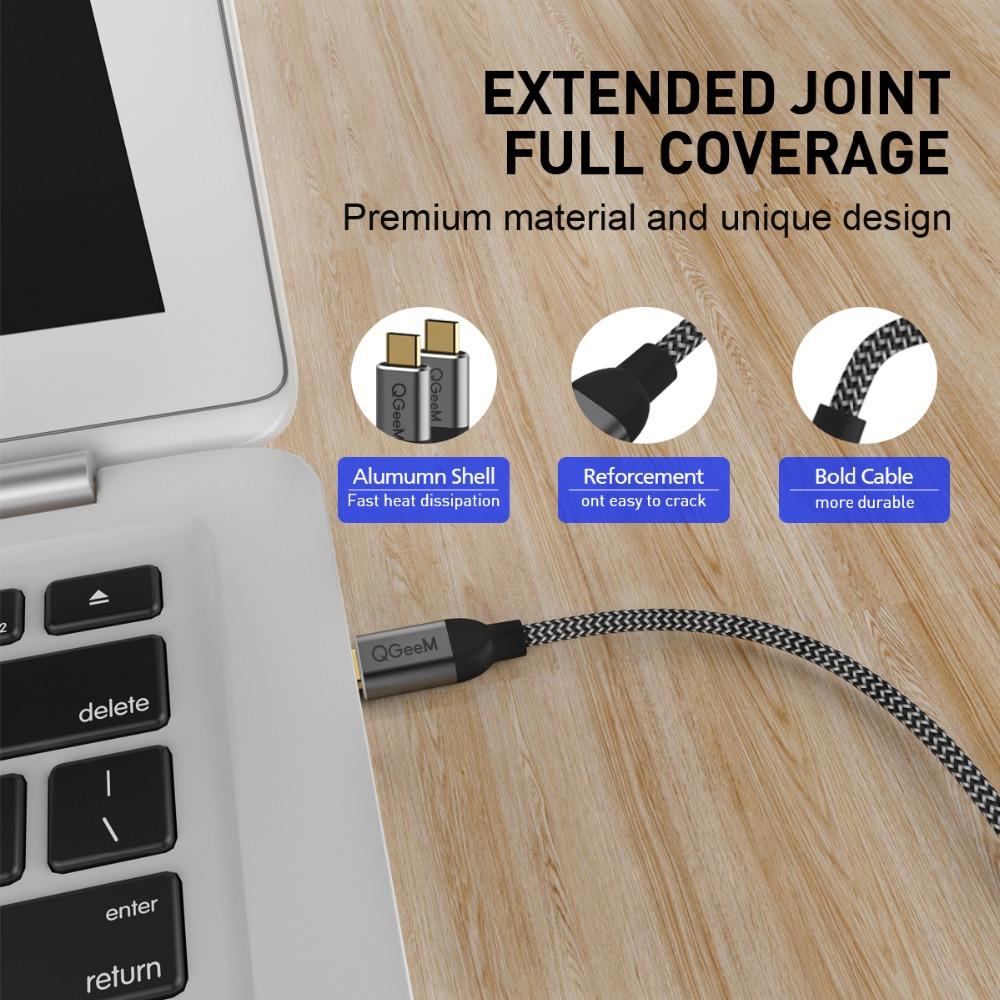 Cáp sạc nhanh QGeeM cổng USB 3.1 mạ vàng Type C to Type C 3A PD 60W dài 1,8 m, dây bện sợi nylong cao cấp - Hàng Chính Hãng