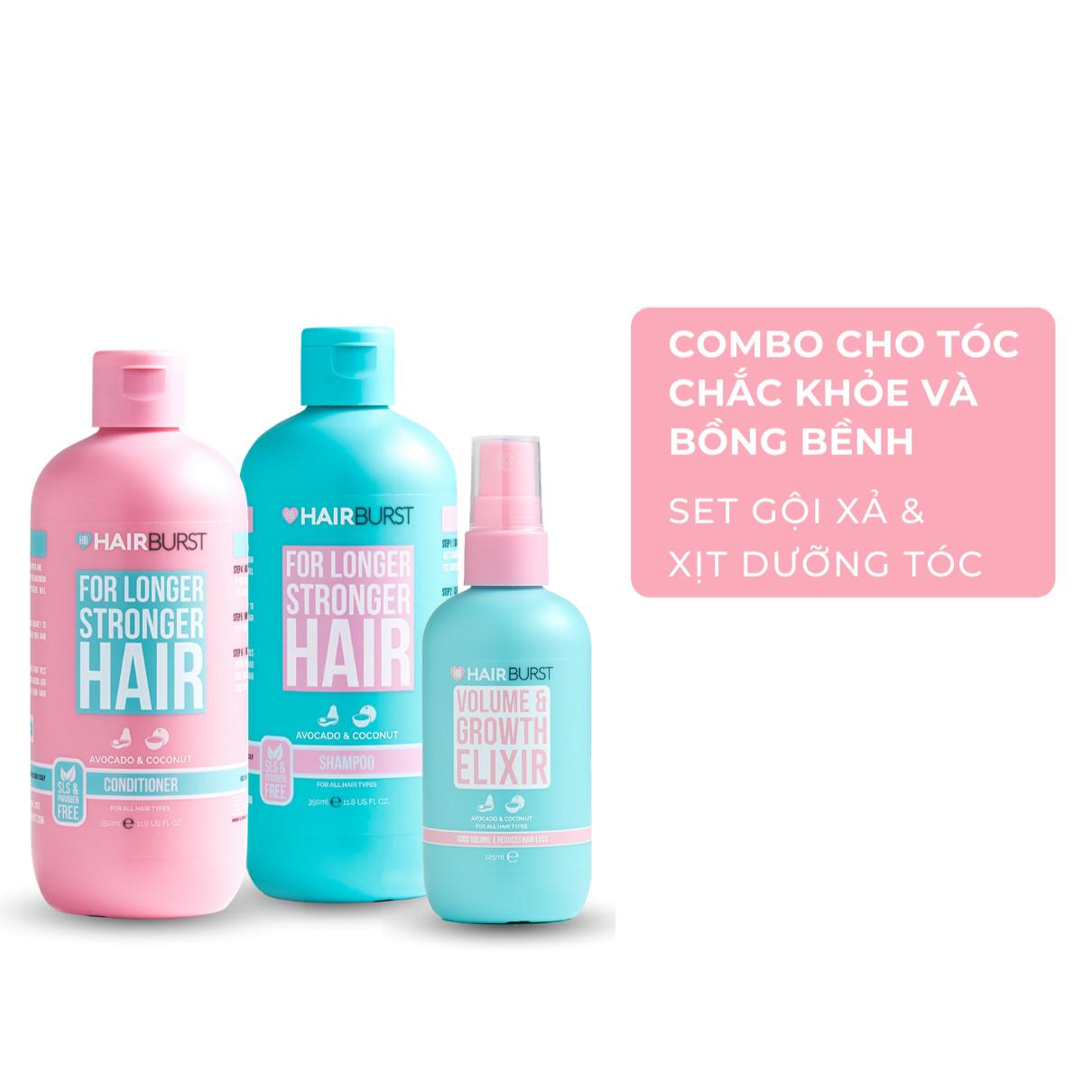 Combo Gội Xả + Xịt Dưỡng Chăm sóc Mọc Tóc Hairburst 700ml + 125ml