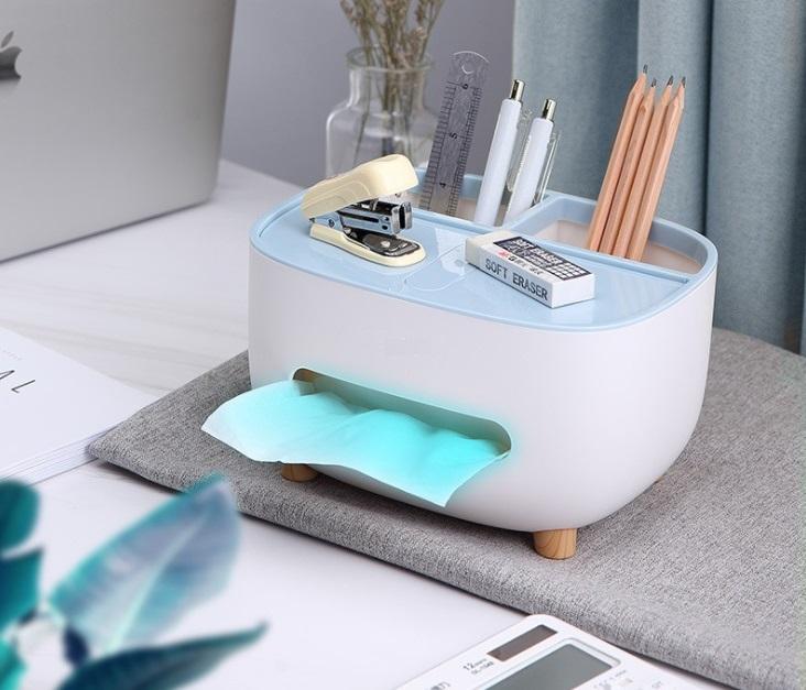 Hộp đựng khăn giấy để bàn có 2 ngăn đựng đồ đa năng, có giá đỡ điện thoại kích thước 21x16x12cm- màu sắc giao ngẫu nhiên