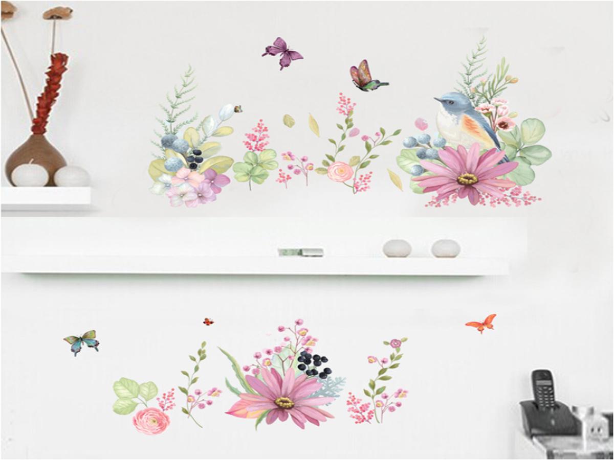 decal dán tường hoa cỏ hồng abc1056