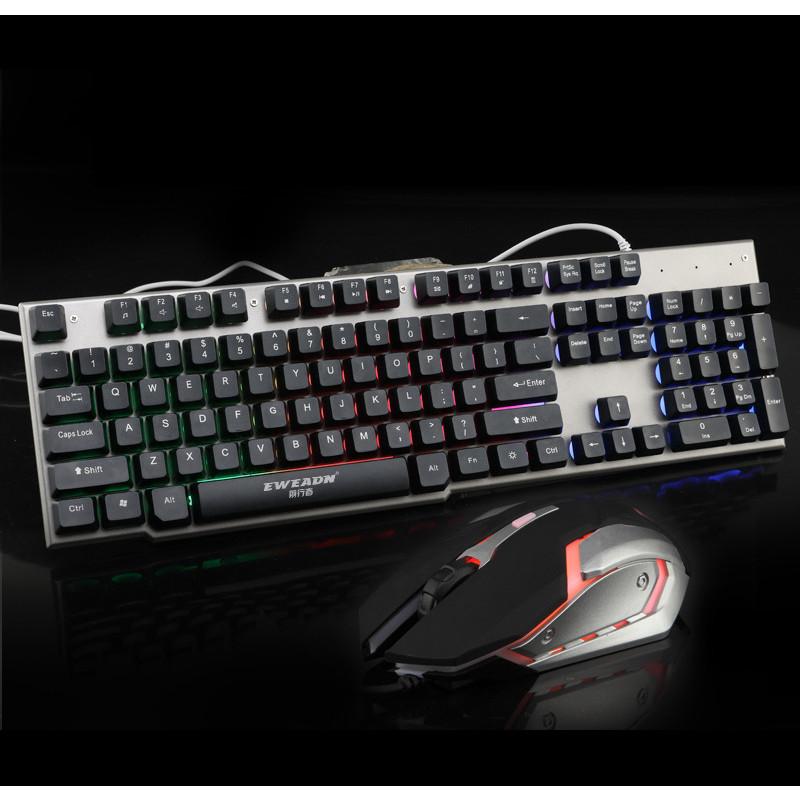 Bộ phím giả cơ và chuột chuyên game EWEADN LK006 Led 7 màu (Đen) HÀNG CHÍNH HÃNG
