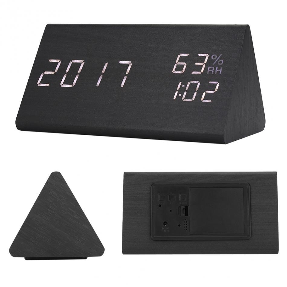 Đồng hồ báo thức điện tử vỏ gỗ khối tam giác