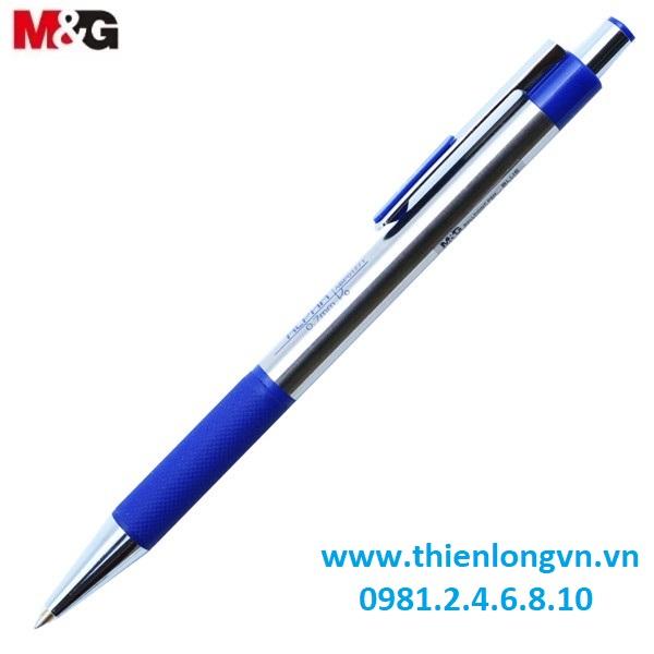 Hộp 12 Bút bi thân inox 0.7mm M&G - ABP01771 mực xanh