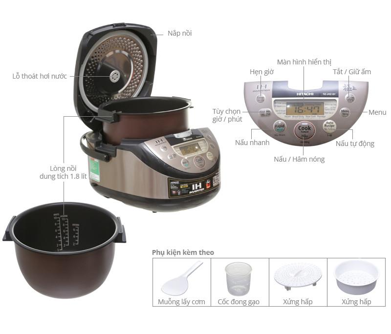 Nồi cơm điện cao tần Hitachi 1.8 lít RZ-JHE18Y(N) - Hàng chính hãng