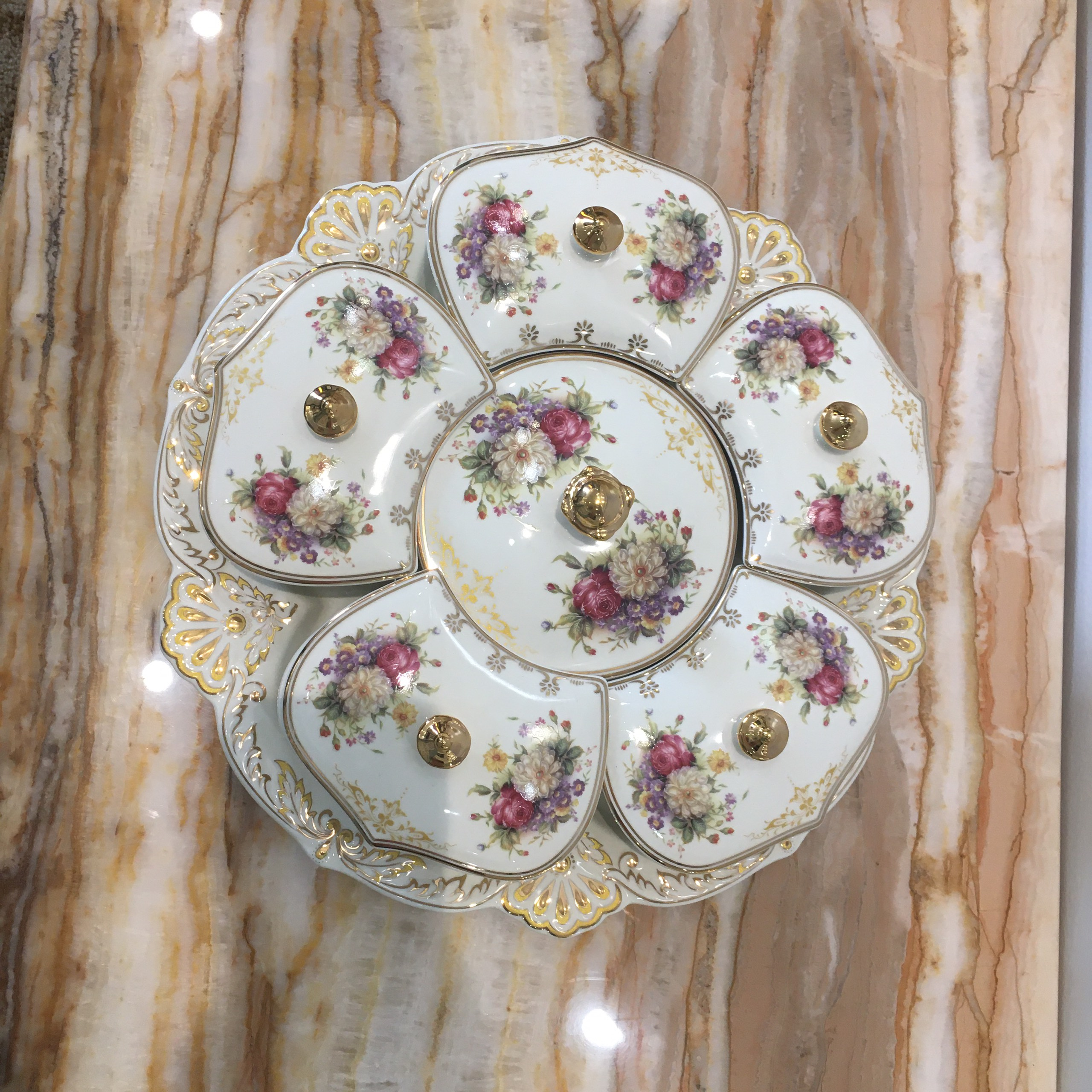 Khay đựng mứt, bánh kẹo ngày Tết họa tiết hoa mẫu đơn làm từ sứ cao cấp  phong cách tân cổ điển Châu Âu - Khay mứt Thương hiệu OEM