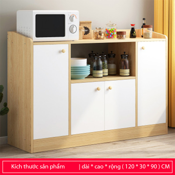 Tủ Bếp Gỗ 4 Cánh 1M2 Trang Trí Nội Thất Nhà Bếp Đẹp - Kệ Bếp Thông Minh Để Lò Vi Sóng