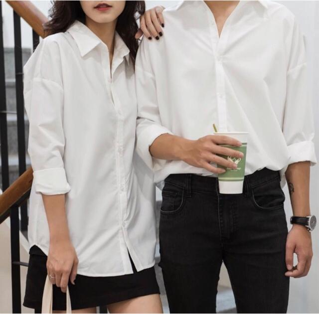 Áo sơ mi trắng trơn form rộng unisex nam nữ cực đẹp