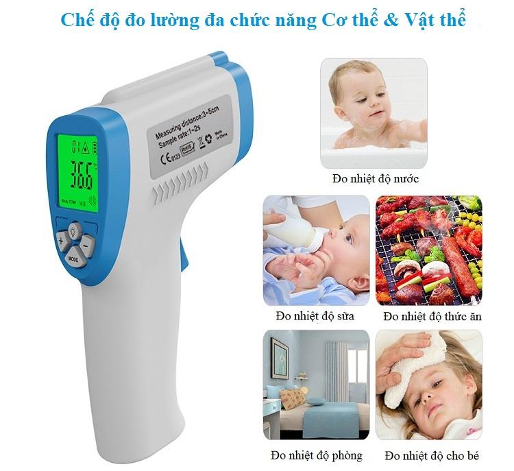 Nhiệt kế hồng ngoại đo nhiệt độ độ ẩm cho người lớn và trẻ em DT-8806C ( Tặng nhiệt ẩm kế điện tử mini- giao màu ngẫu nhiên)