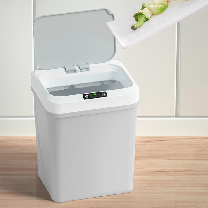 Thùng rác thông minh cảm ứng không chạm thế hệ mới 2020. Dung tích 15L có pin sạc, cắm USB