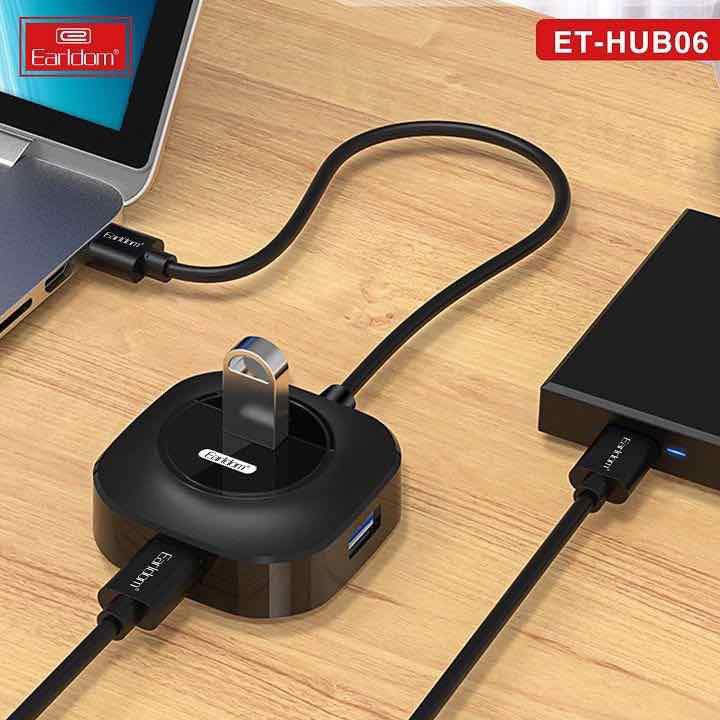 Hub USB 4 cổng  Earldom HUB-06 - Bộ chia USB 1 ra 4 - Hàng Chính Hãng