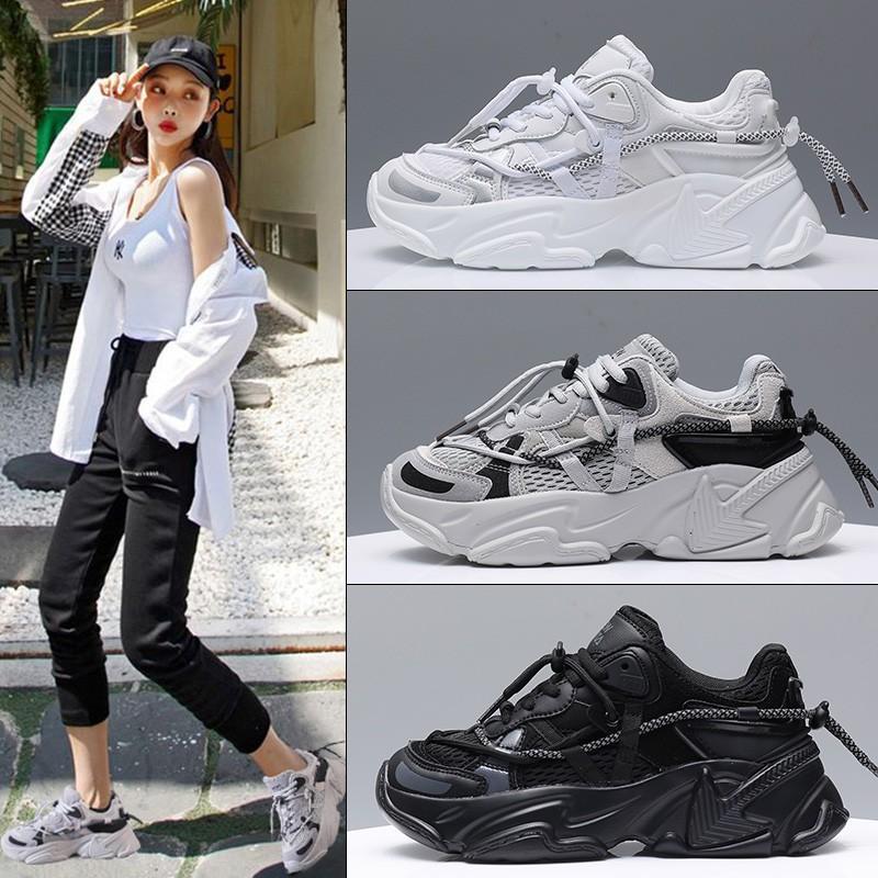 Giày thể thao sneaker nữ NewHista có 3 màu đen, trắng & xám, chất da cao cấp, đế độn cao 5 cm, dễ phối đồ