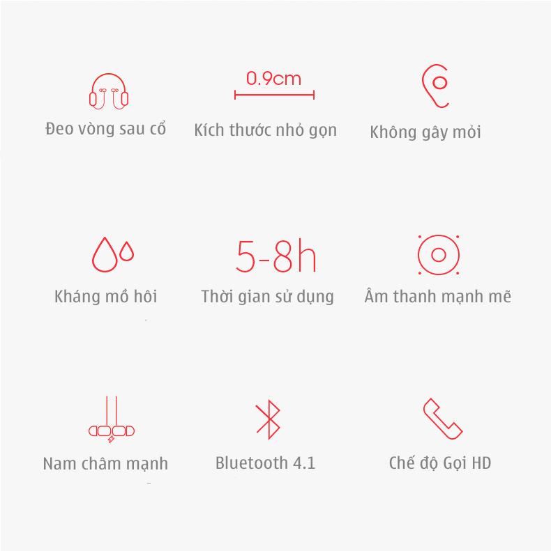 Tai nghe không dây nhét tai bluetooth V4.1 MOLOKE S7 (Màu Đỏ) (Có micro đàm thoại) + Tặng kèm 3 bộ nút tai nhiều kích thước