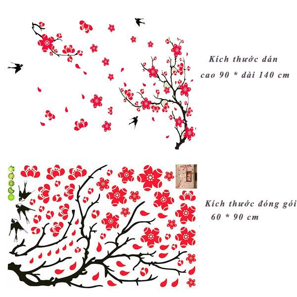Decal dán tường cành đào và chim én AY818