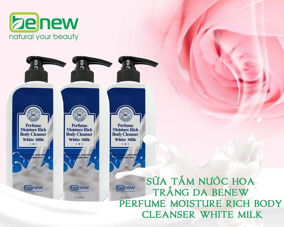 Sữa tắm trắng da  ngừa mụn hương nước hoa cao cấp Benew Perfume Moisture Rich Body Cleanser White Milk (500ml) – Hàn Quốc Chính Hãng