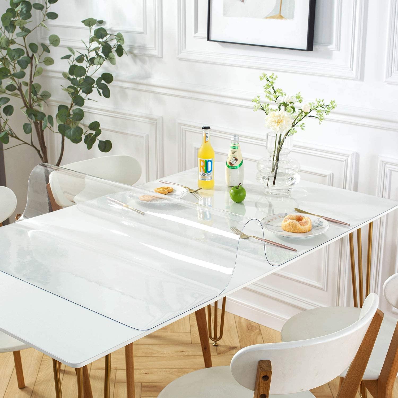 Thảm trải sàn bảo vệ sàn gỗ, gạch bằng nhựa (PVC) dẻo, màu trắng trong suốt, Chống thấm nước, Chống thấm dầu, Chống trượt cho ghế em bé, xe lăn, trải bàn ăn, bàn khách, tủ tivi độ dày 3mm