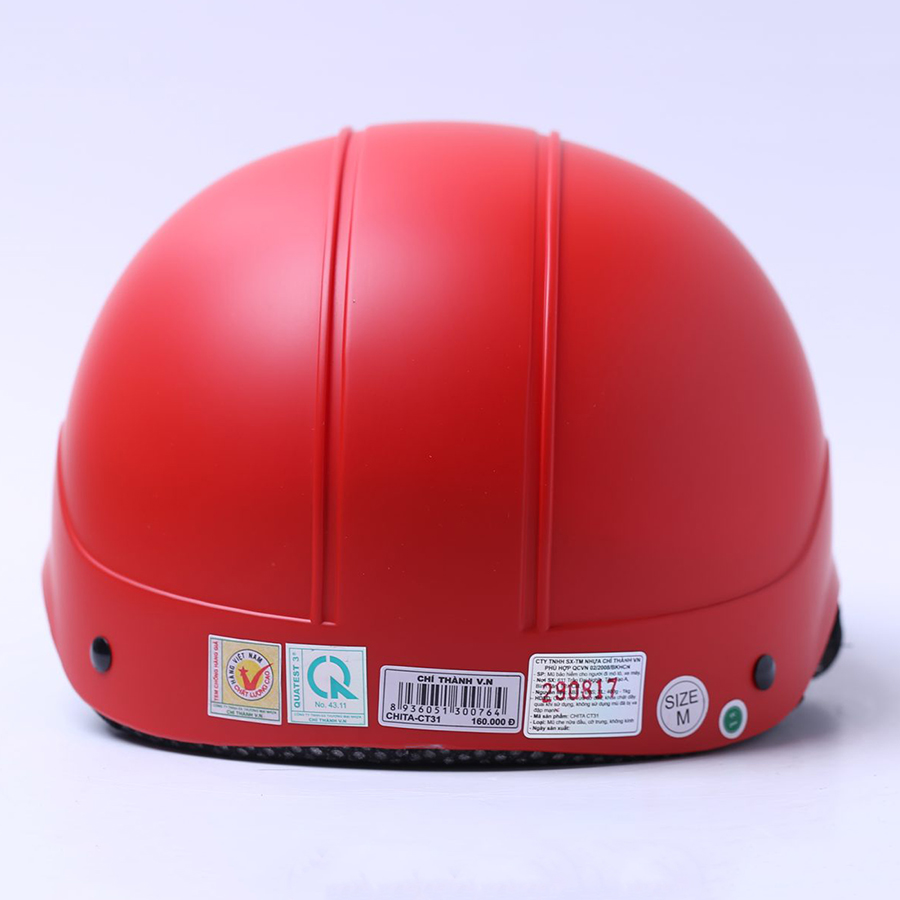 Mũ Bảo Hiểm 1/2 Chita - Đỏ Cờ Sơn Mờ (Size L)