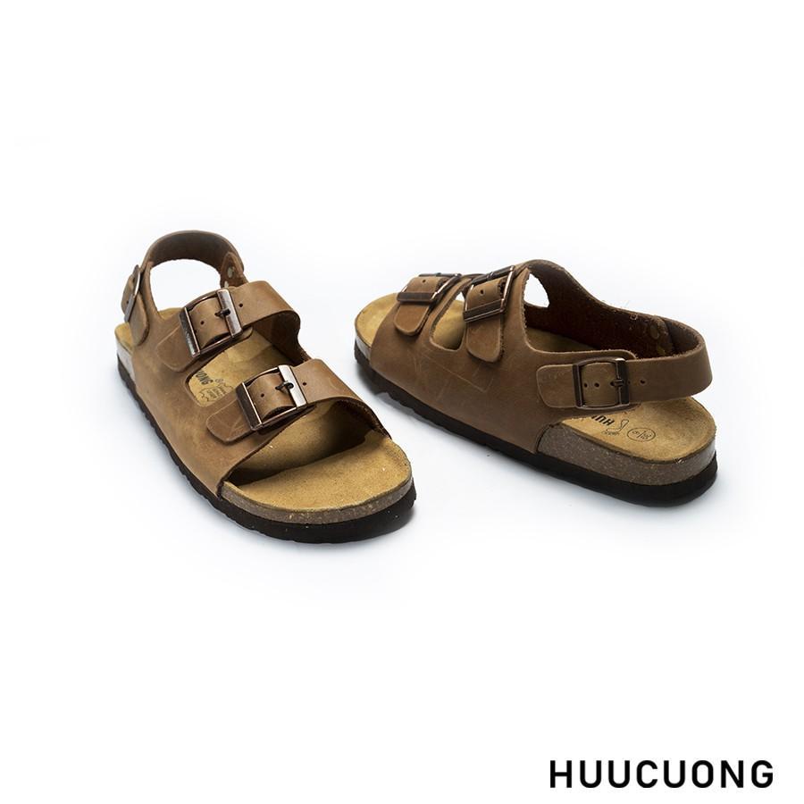 Sandal HuuCuong -2 khóa Da Bò đế trấu(nâu)