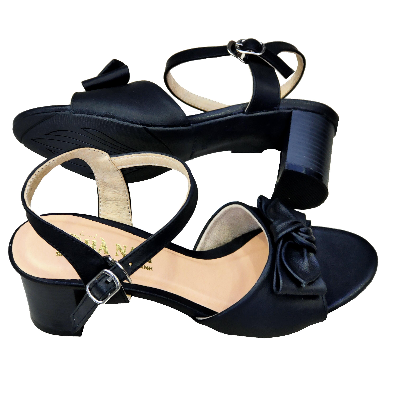 Giày sandal nữ cao gót 6p da bò thật DNU2056