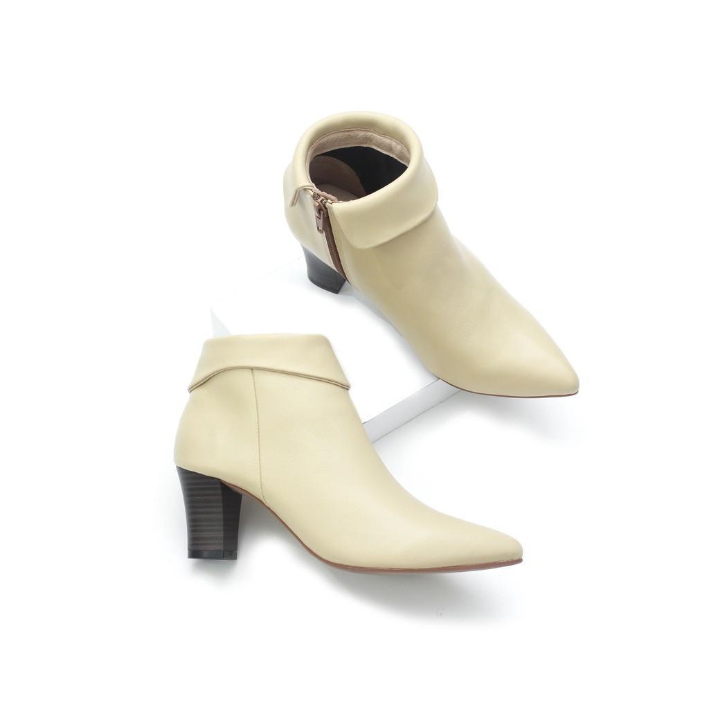 Boot Da Bò Thật Cao Gót 5cm Cổ Lật Pixie X604