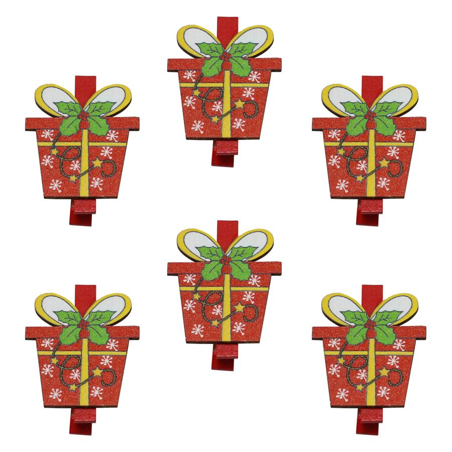 Bộ 6 Kẹp Ảnh Gỗ Trang Trí Giáng Sinh - Hộp Quà Giáng Sinh