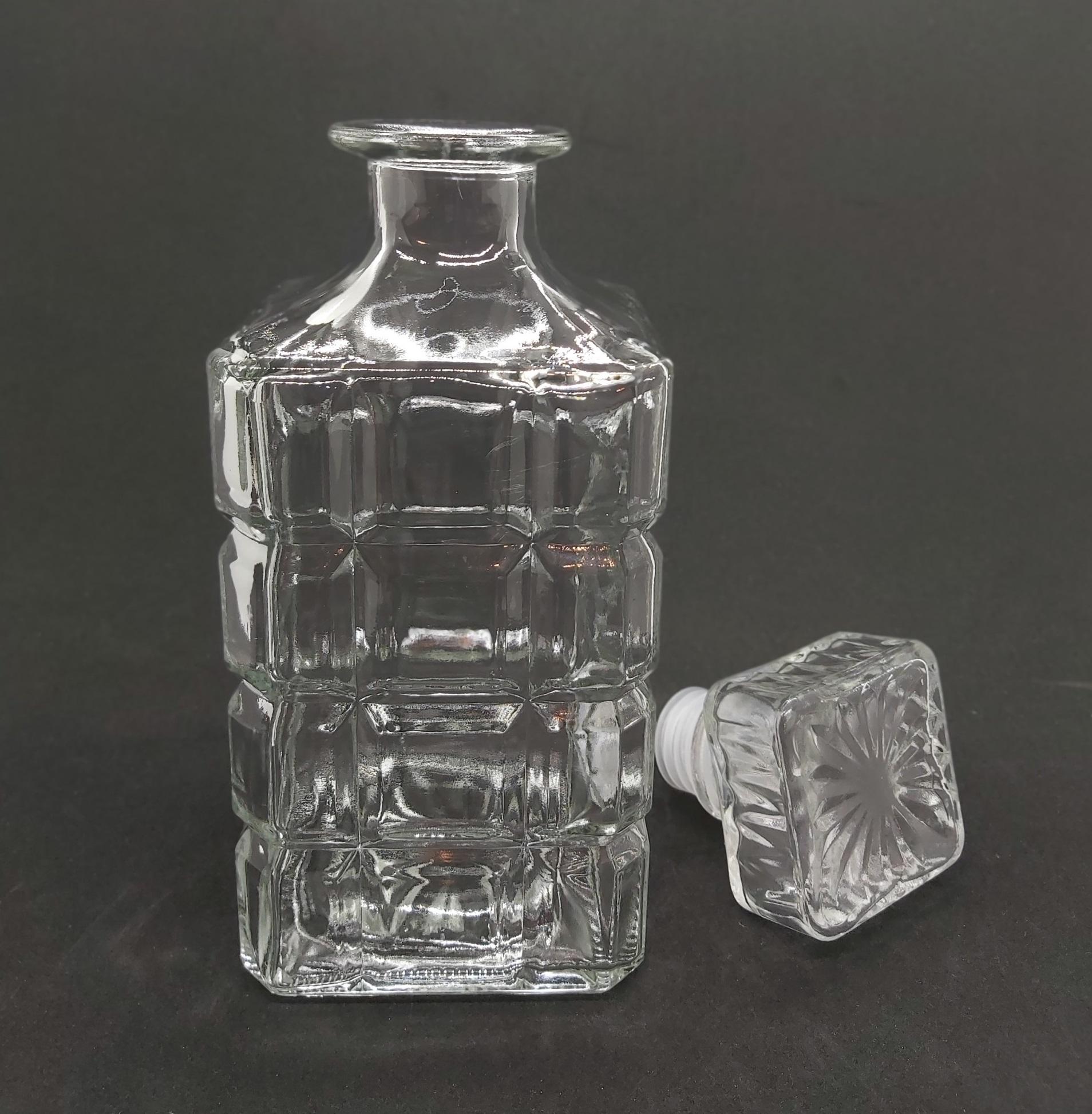Chai Thủy Tinh đựng Rượu Vuông Hoa Văn Caro 1000ML - bình thủy tinh cao cấp 1 lít, chai 1000ml trong suốt