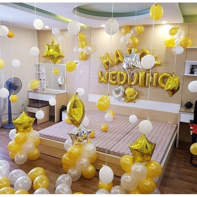 Combo 6 : Set bóng bay nhũ vàng - trắng trang trí phòng cưới