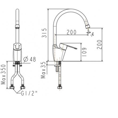 Vòi bếp nóng lạnh cổ cao gắn chậu  American Standard - Neo modern WF-5624 (FFAS5624)