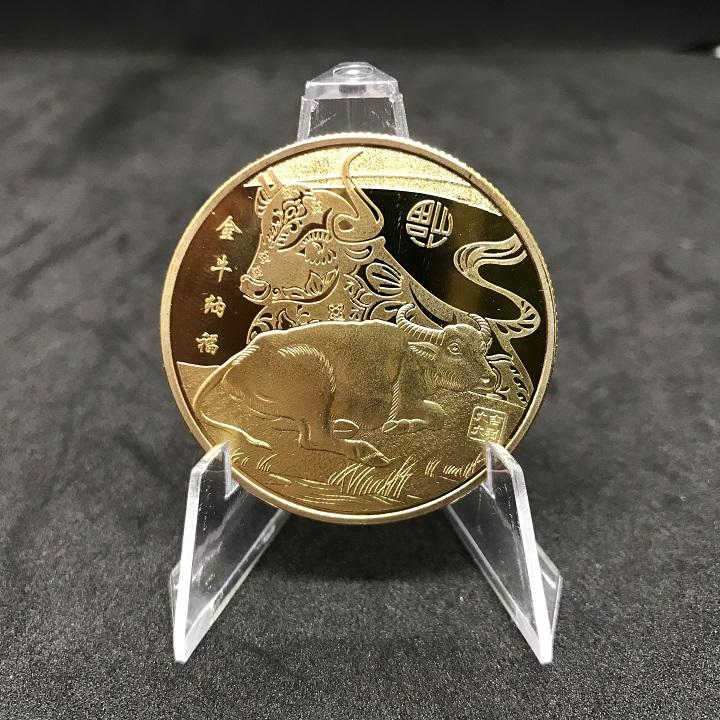 Xu con Trâu màu Vàng, dùng để trang trí bàn sách, xỏ lỗ đeo dây hoặc bỏ vào  túi mang theo - SP002375 - Tiền hoa mai, đồng xu, tiền cổ Thương