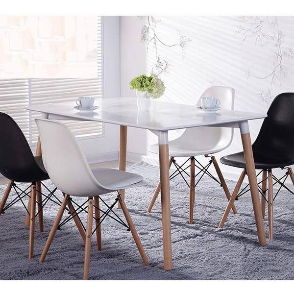 Ghế nhựa Eames chân gỗ  (màu trắng)