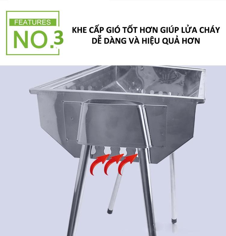 BẾP NƯỚNG THAN HOA INOX CHÂN CAO NGOÀI TRỜI - BUCOOK