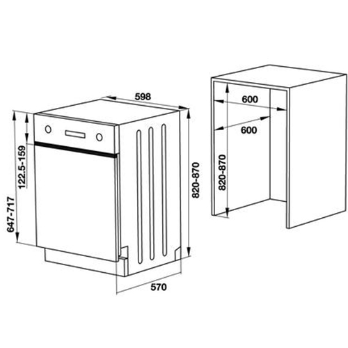 Máy rửa chén âm bán phần bề mặt thép không gỉ HDW-HI60C chính hãng