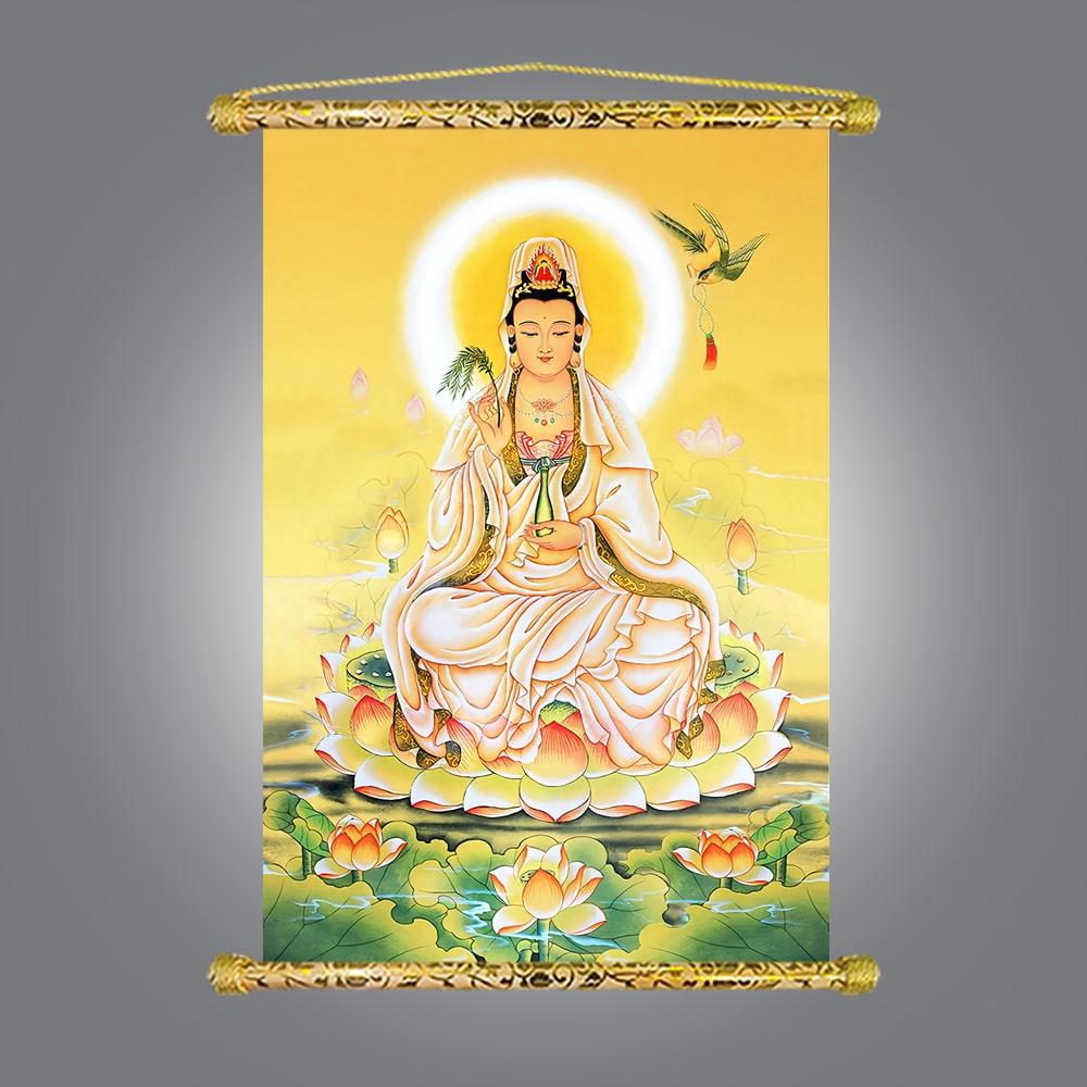 Tranh Liễn Phật Giáo - Quan Thế Âm Bồ Tát, Vải canvas cao cấp nẹp sáo gỗ tự nhiên, có sẵn phụ kiện treo tranh