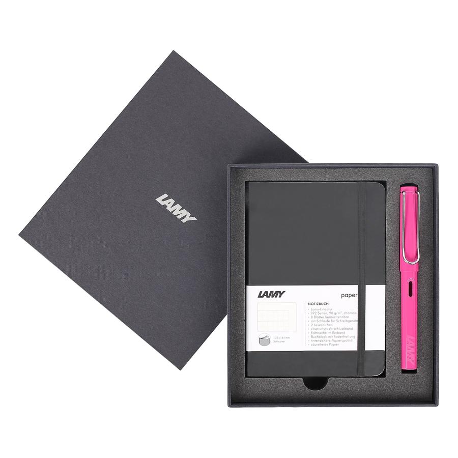 Gift Set Lamy Notebook A6 Softcover Black + Lamy Safari Pink - GSA6-SA003