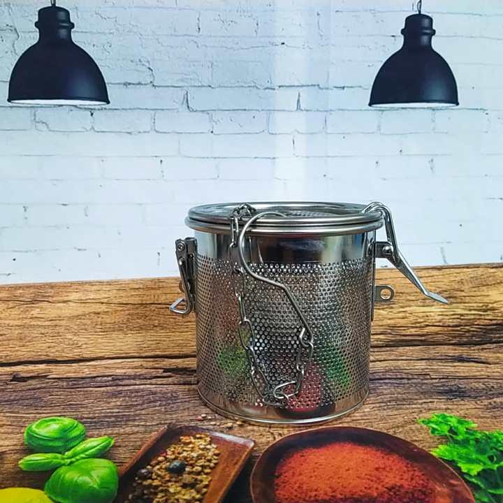 Dụng Cụ Lọc Trà, Lọc Gia Vị INOX Cao Cấp, có móc treo tiện dụng - Size 10cm. Dụng cụ pha chế, chế biến lọc cặn bã xác trà, gia vị thực phẩm NHANH HIỆU QUẢ. Phù hợp cho Nhà hàng Bar, quán ăn, quán nước ĐẲNG CẤP